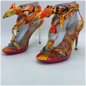 Guess by Marciano Floral Scarf Tie-up Heels 8 - 3H